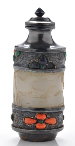 Lot 583-Silver-metal mounted cylindrical shaped jade...