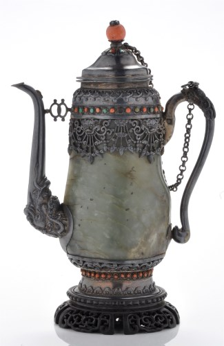 Lot 608-Silver-metal mounted jade wine pot, probably...