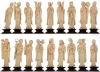 Lot 739-Rare set of eighteen Chinese carved ivory...