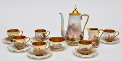 Lot 995-Royal Worcester 'Castles' coffee ware, signed '...