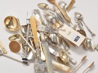 Lot 1029 - Miscellaneous and plated white metal cutlery,...