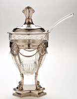 Lot 1031 - A W.M.F. style white metal and cut glass punch...