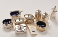 Lot 1040 - A George V six-piece condiment set, by William...