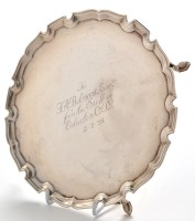 Lot 1064 - A George V silver waiter, by Reid & Sons,...