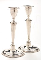 Lot 1116 - A pair of Edwardian candlesticks, by Thomas A....
