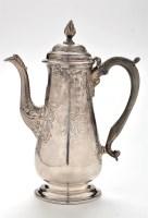 Lot 1121 - A rare George II coffee pot, by Richard Beilby,...