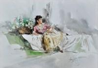 Lot 69 - Gordon King (1939- ) The Flower Girl signed...