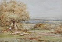 Lot 104 - Claude Hayes (1852-1922) A broad landscape...