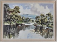 Lot 118 - Angus Rands (1922-1985) A river scene with...