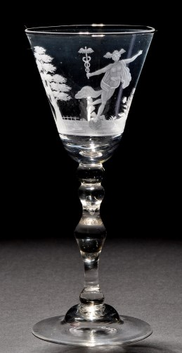 Lot 229-A light baluster goblet, the round funnel bowl...