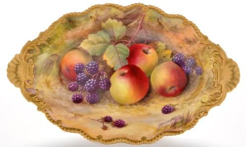 Lot 371-Royal Worcester fruit stand, signed T. Lockyer,...