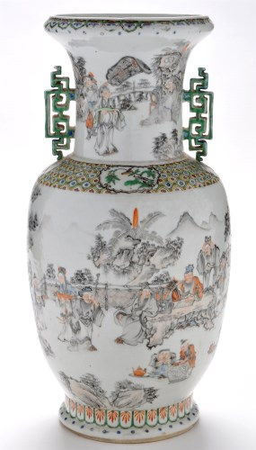 Lot 418-Chinese baluster shaped vase, the body and...