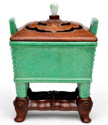 Lot 421-Chinese green crackle glaze censer, Fang Ding,...