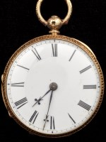 Lot 571-A Victorian 18ct. gold open faced key wound...