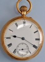 Lot 573-An Edwardian 18ct. gold gentleman's open face...