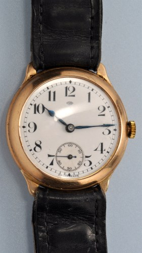 Lot 579-IWC: a 9ct. gold cased gentleman's wristwatch,...