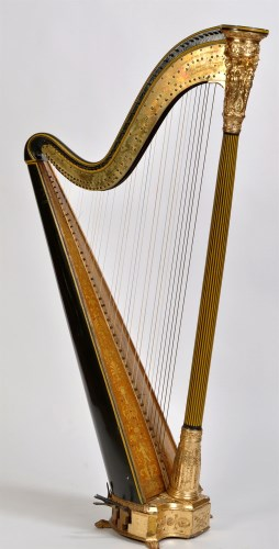 Lot 790-*A green painted and giltwood Grecian harp, by...