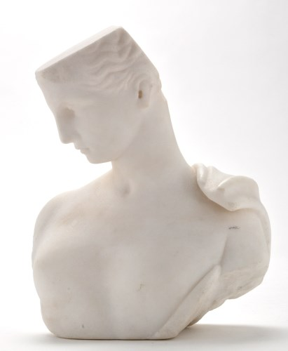 Lot 882-An Art Deco carved alabaster bust of a female...
