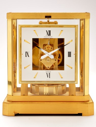 Lot 1137-Jaeger LeCoultre: an Atmos clock, with square...