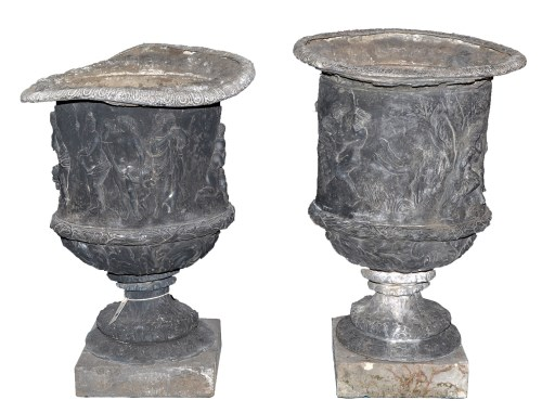 Lot 1166 - A pair of 19th Century cast lead garden urns,...