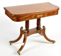 Lot 1196-A Regency mahogany and brass inlaid turnover top...
