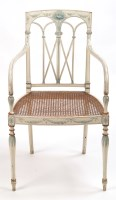 Lot 1234-A Regency cream painted beech open arm chair, the ...
