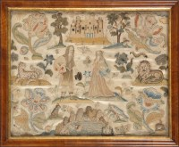 Lot 949-A fine Charles II stumpwork and silk embroidered...