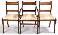 Lot 1039-A set of two arm and four single Regency mahogany ...