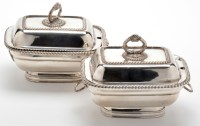 Lot 601 - A pair of plated sauce tureens and cover, 19th...
