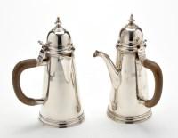 Lot 613 - A pair of George V cafe au lait pots, by Percy...