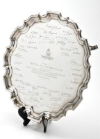Lot 631 - A George V presentation salver, by Cooper Bros....