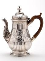 Lot 652 - A George III coffee pot, by I.S., London 1770,...
