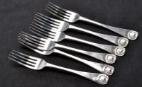 Lot 670 - Six Victorian dessert forks, by Reid & Sons...