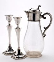 Lot 689 - A Victorian glass and silver mounted claret...