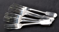Lot 693 - Six William IV table forks, by Mary Chawner,...