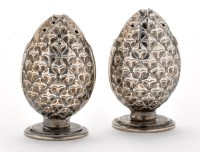 Lot 706 - A pair of Norwegian silver pepperettes, of...