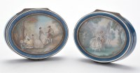 Lot 711-Two Continental oval silver and enamelled...