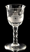 Lot 1022 - Engraved faceted stem wine glass, the wide...