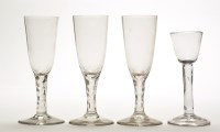 Lot 1033 - Plain stem cordial glass, with round funnel...