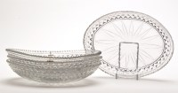 Lot 1037 - Set of four cut glass serving dishes, oval...