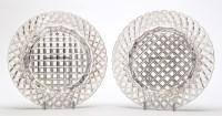 Lot 1038 - Pair of cut glass decanter stands, of circular...