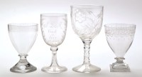 Lot 1041 - Engraved glass rummer, with moulded square...