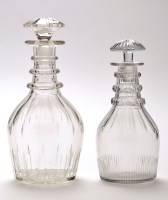 Lot 1042 - Mallet shape glass decanter, with faceted...