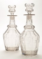 Lot 1043 - Pair of faceted glass decanters, with slash...