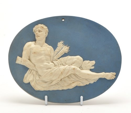Lot 1090-Wedgwood & Bentley blue jasperware oval plaque,...