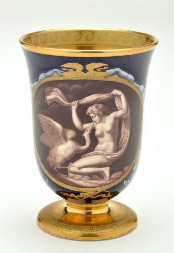 Lot 1109-Kerr & Binns Worcester beaker, painted by...