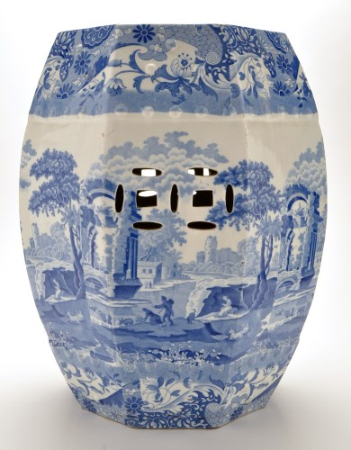 Lot 1113-Spode blue and white octagonal barrel shaped seat,...