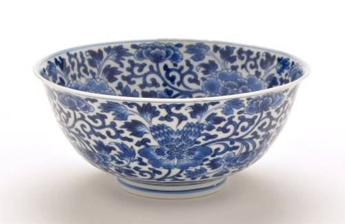 Lot 1270-Chinese and blue and white bowl, the interior...