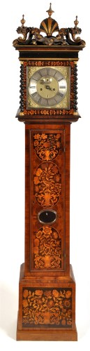 Lot 1345-A walnut and floral marquetry longcase clock, the ...