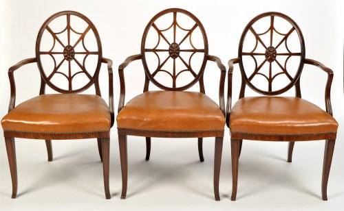 Lot 1387-A set of eleven 19th Century mahogany open arm...